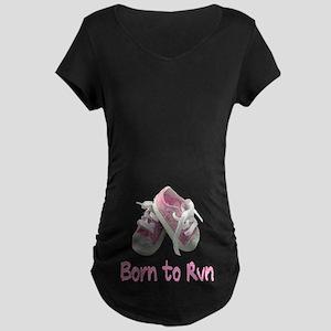 Born to Run Girl Maternity Dark T-Shirt