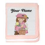 Personalize Girls Easter baby blanket