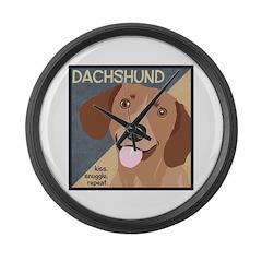 Dachshund-Kiss.Snuggle.Repeat. Large Wall Clock