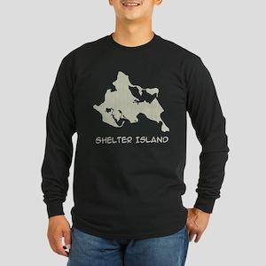 Shelter Island Text Long Sleeve Dark T-Shirt