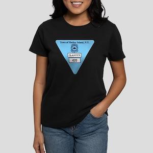 Shelter Island Beach Sticker Women's Dark T-Shirt
