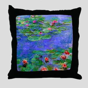Monet - Water Lilies Red Throw Pillow