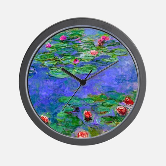 Monet - Water Lilies Red Wall Clock