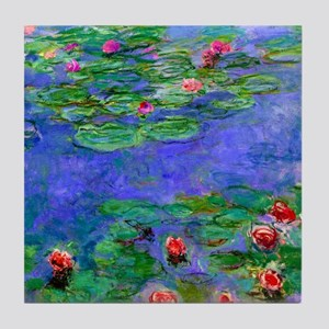 Monet - Water Lilies Red Tile Coaster