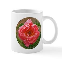 Coral Peony Flower photo Mug
