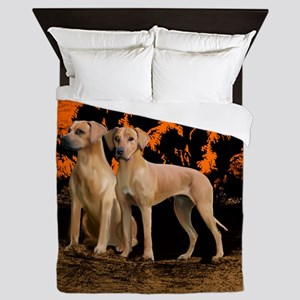 rhodesian ridgeback sunset Queen Duvet