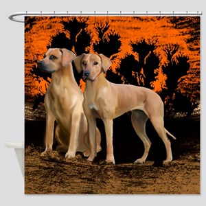 rhodesian ridgeback sunset Shower Curtain