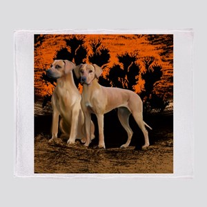 rhodesian ridgeback sunset Throw Blanket