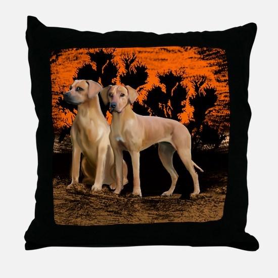 rhodesian ridgeback sunset Throw Pillow