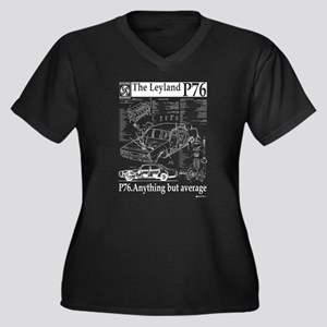 P76 Women's Plus Size V-Neck Dark T-Shirt