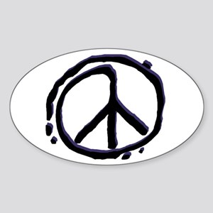 Peace Sign Sticker Oval