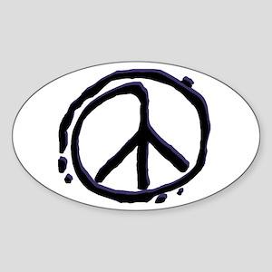Peace Sign Sticker Oval