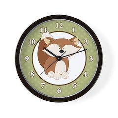 Red Fox 10-inch Black Wall Clock