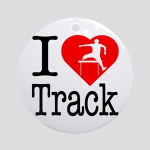 I Love Track Ornament (Round)