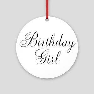 Birthday Girl Black Script Ornament (Round)