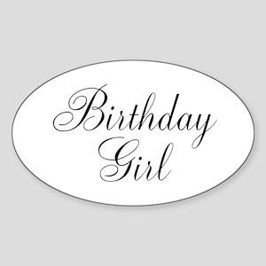 Birthday Girl Black Script Sticker (Oval)