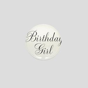 Birthday Girl Black Script Mini Button