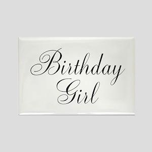 Birthday Girl Black Script Rectangle Magnet