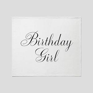 Birthday Girl Black Script Throw Blanket