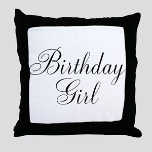 Birthday Girl Black Script Throw Pillow