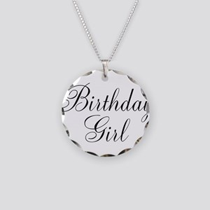 Birthday Girl Black Script Necklace Circle Charm