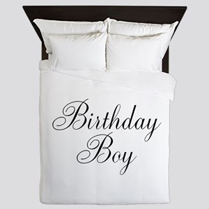 Birthday Boy Black Script Queen Duvet