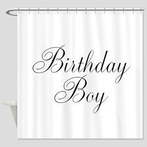 Birthday Boy Black Script Shower Curtain