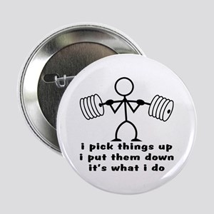 "Stick Figure Body Builder 2.25"" Button"