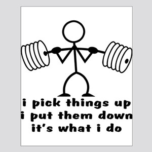Stick Figure Body Builder Small Poster