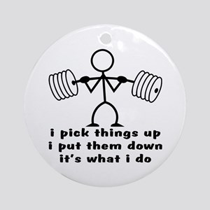 Stick Figure Body Builder Ornament (Round)