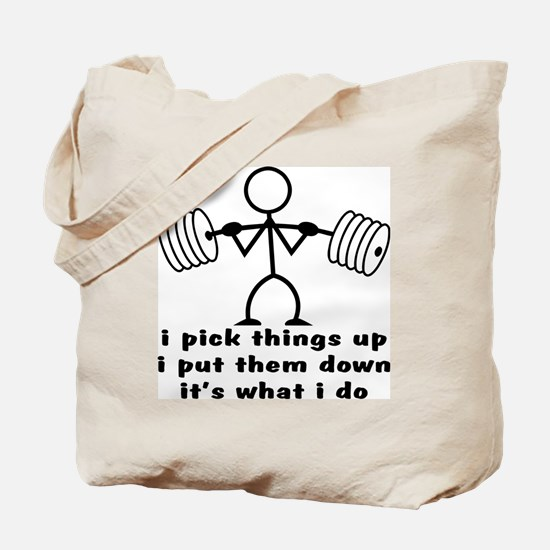 Stick Figure Body Builder Tote Bag