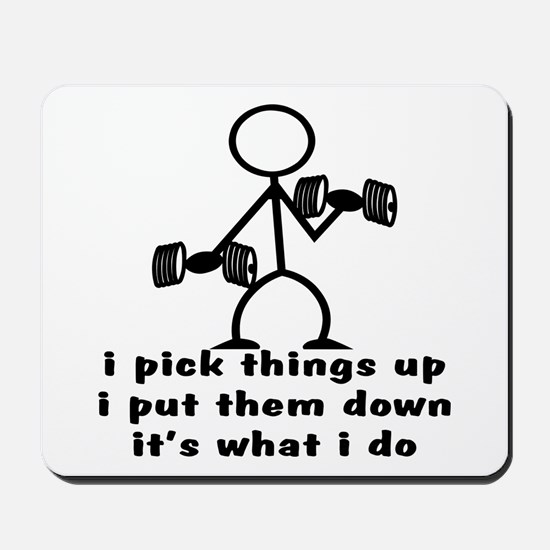Stick Figure Body Builder Mousepad