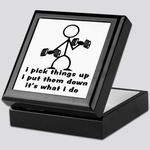 Stick Figure Body Builder Keepsake Box