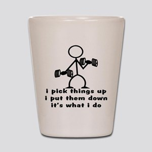 Stick Figure Body Builder Shot Glass
