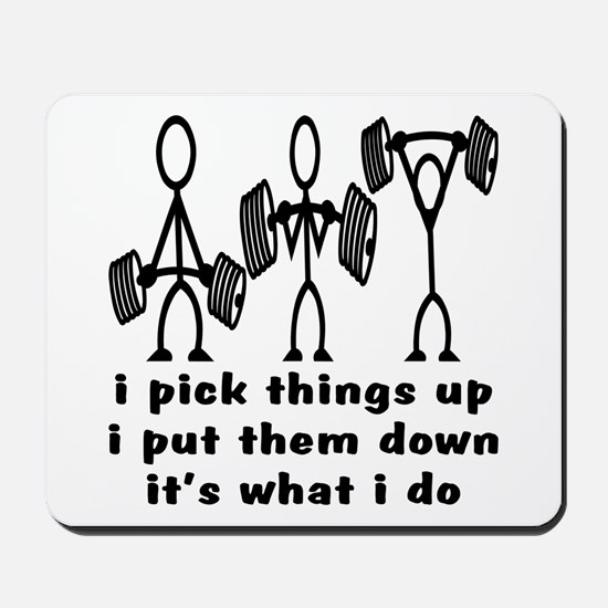 Stick Figure Body Builders Mousepad