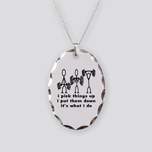 Stick Figure Body Builders Necklace Oval Charm