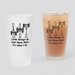 Stick Figure Body Builders Drinking Glass