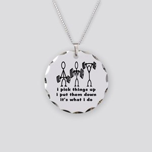 Stick Figure Body Builders Necklace Circle Charm