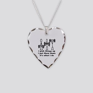 Stick Figure Body Builders Necklace Heart Charm