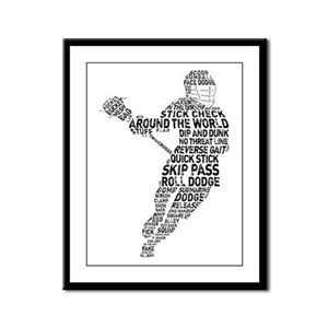 Lacrosse LAX Player Framed Panel Print
