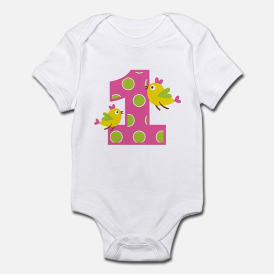 Heart Birds 1st Birthday Infant Bodysuit