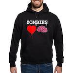 Zombies heart brains Hoodie (dark)