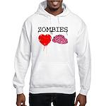 Zombies heart brains Hooded Sweatshirt