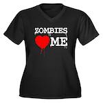 Zombies heart me Women's Plus Size V-Neck Dark T-S
