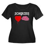 Zombies heart brains Women's Plus Size Scoop Neck