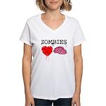 Zombies heart brains Women's V-Neck T-Shirt