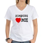 Zombies heart me Women's V-Neck T-Shirt