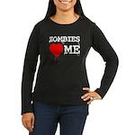 Zombies heart me Women's Long Sleeve Dark T-Shirt