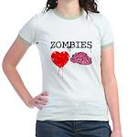 Zombies heart brains Jr. Ringer T-Shirt