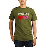 Zombies heart brains Organic Men's T-Shirt (dark)